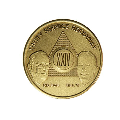 24 Year Bill & Bob Founders Edition Bronze AA (Alcoholics Anonymous) - Sober / Sobriety / Birthday - Anniversary Recovery Medallion / Coin / Chip by Generic - 1