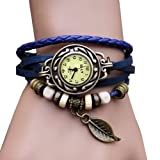WAWO Quartz Fashion Weave Wrap Around Leather Bracelet Lady Woman Wrist Watch (Blue leaf)