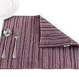 Youchan(ヨウチャン) ランチョンマット プレイスマット かすり アジアン 雑貨 布 センターテーブル テーブルクロス キッチンアクセサリー ダイニング パッド グッズ 小物 キッチン 台所用品 45×35cm (パープル)