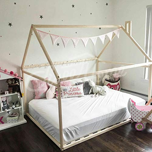 Wood bed FULL/DOUBLE, toddler bed, tent bed, wooden house bed frame, wood nursery bed house, baby bed, bedroom wood bed, kids bed SLATS