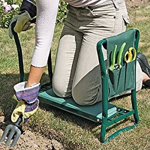 Garden folding kneeler seat chair pad stool steel frame for Gardening kneeling stool