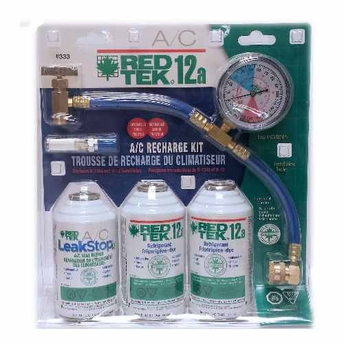RED TEK R12a Refrigerant Recharge Kit with Gauge (Ac Refrigerant Kit compare prices)