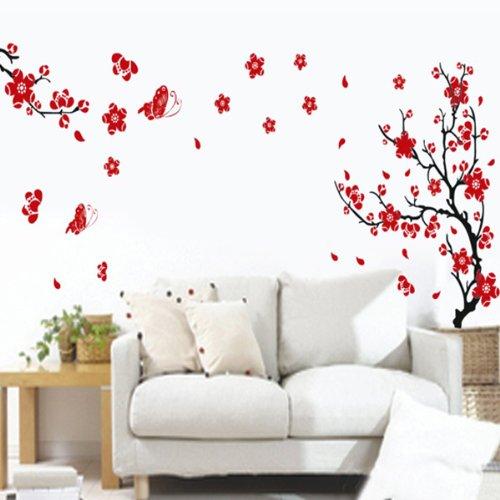 BestOfferBuy Romantici Stickers da Muro in 3D con Decalcomania di un Albero con Farfalle - Cavi ...