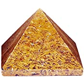 Satyamani Natural Natural Merriam Pyramid Showpiece - 3.6 Cm (Crystal, Yellow)