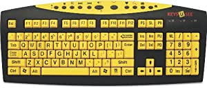 Keys U See Large Print USB Computer Keyboard (Yellow with Black Letters) for Visually Impaired Individuals