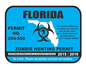 Florida state zombie hunting permit license for Florida state fishing license
