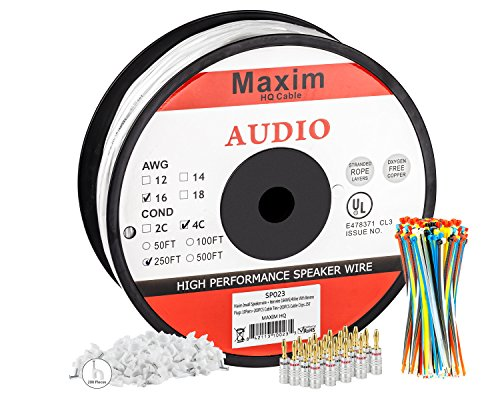 In Wall Speaker Wire | 250 Feet | 16AWG CL3 Rated 4-Conductor Wire White Oxygen Free Copper includes banana plugs cable clips and ties (Service Electric compare prices)