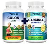 Garcinia Cambogia Extract and Colon Care - Best Weight Loss and Detox Supplements, 60 Daily Capsules- Body Detox, Weight Loss FDA Registered, 1600 Mg 60% HCA, Appetite Suppressant Pills