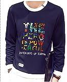 Youchan(ヨウチャン) Tシャツ メンズ POP 英文字 プリント 衿袖 切替 フロント ワンポイント 丸首トレーナー クルーネック ロンt 長袖 カットソー インナー カジュアル トップス (2XL, ネイビー)