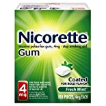 Nicorette Stop Smoking Aid, 4 mg, Gum, Fresh Mint, 100 ct.