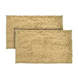 Just linen Pair of Chenille Pom Pom antiskid almond Floor mats