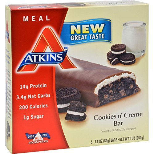 Atkins Advantage Bar Cookies n Creme - 5 Bars - 15g Protein - Low Sugar - Low Calorie (Atkins Advantage Snack Bars compare prices)