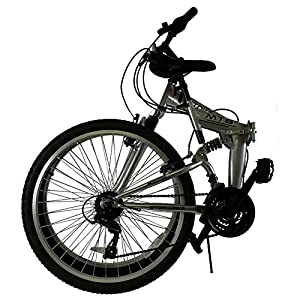Stowabike Folding Dual Suspension Mountain Bike - Silver