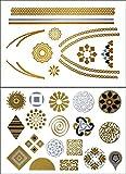 Flash Tattoo Style Metallic Jewelry Tattoos Metallic Temporary Tattoos Jewelry Tattoos Gold Tattoo Temporary Tattoos 2 Sheets