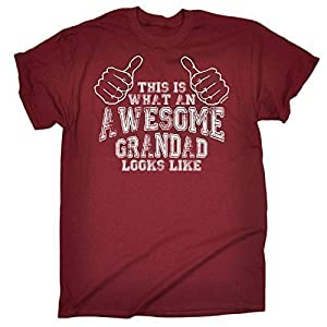 123t Men's - THIS IS WHAT AN AWESOME GRANDAD LOOKS LIKE - Loose Fit T-shirt (Distressed Style Print)