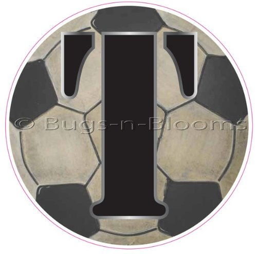 """""""T"""" Soccer Ball Alphabet Letter Name Wall Sticker (5 1/2"""" Diameter). Decal Letters For Children'S, Nursery & Baby'S Sport Room Decor, Baby Name Wall Letters, Boys Bedroom Wall Letter Decorations, Child'S Names, Sports Balls Mural Walls Decals Baby Shower front-3214"""