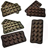 AndAlso Silicone Chocolate Mold Also Ice Cube Mould For Home Kitchen (Assorted Shape Molds)