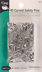 Dritz 40-Piece Curved Safety Pins, Size 2, Nickel Finish