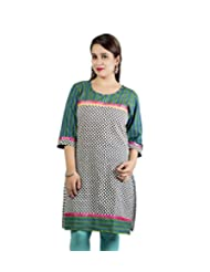 Rama Cotton Multi Printed Knee Length Kurti (14RAMA1421076)