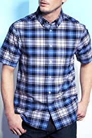 Blue Harbour Pure Cotton Large Grid Check Oxford Shirt [T25-5730B-S]