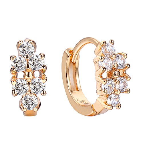 Sun Lorence Rose Gold Plated Cubic Zirconia Front Hoop Earrings