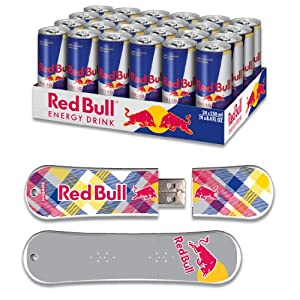 Red Bull 24pack 8.4oz Original Energy Drink & 8GB Yellow Plaid USB SnowDrive