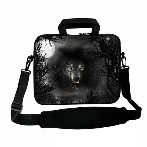 "New Fashion Design Black & Wolf 9.7"" 10"" 10.1"" 10.2 Inch Neoprene Laptop Netbook Tablet Shoulder Case Carrying Bag Cover With Strap Pocket For Apple Ipad 1 2 Ipad 3 ,New Ipad 4/Amazon Kindle Dx/Samsung Galaxy Note Tab 2/Acer Iconia A200 W500 A500 Tablet/M front-117972"