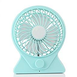 Adjustable speed Mute Portable Office desk USB Mini Fan Cooler blue