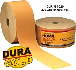 DURA-GOLD 220 Grit 2-3/4&quot; PSA Roll Longboard Sandpaper