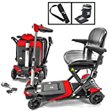 Transformer Automatic Foldable Lithium Powered Travel Scooter RED + Cane & Cup Holder