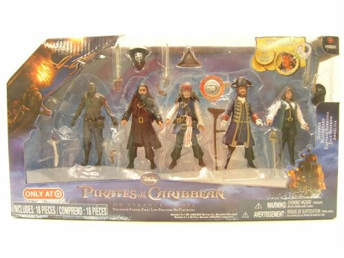 Picture of Jakks Pacific Pirates of the Caribbean On Stranger Tides Exclusive 4 Inch Action Figure 5Pack Gunner, Blackbeard, Captain Barbosa, Jack Sparrow Angelica (B004FEHL7C) (Jakks Pacific Action Figures)