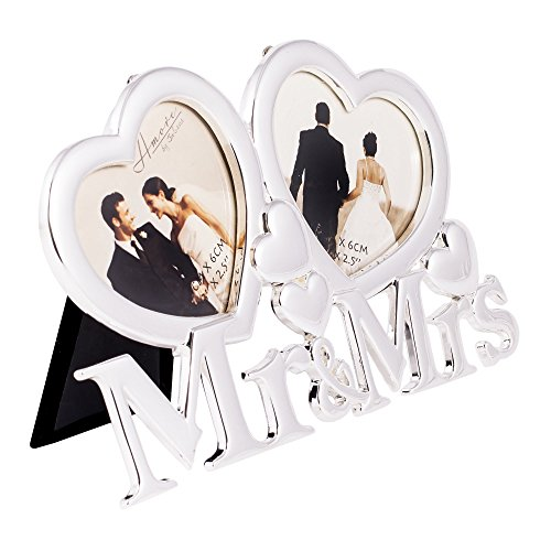 Mr. & Mrs. Two Hearts Picture Frame with Easel Back - Holds Two 3x2.5 inch Photos - Amore by Juliana