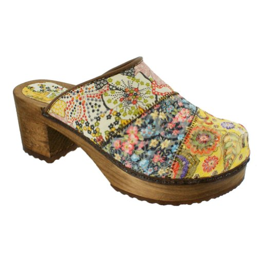 Sanita Daisy Wood Block Open Clogs in Yellow - Factory 2nd -36