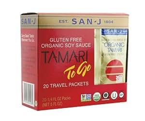 San J Organic Gluten-free Non-GMO Tamari Soy Sauce Travel Packs, 240 Count Packages