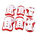 Como Children Skating Biking Red White Wrist Elbow Knee Pad Mat Protector 3 Pairs
