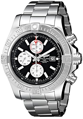 Breitling Super Avenger II Black Dial Chronograph Stainless Steel Automatic Mens Watch A1337111-BC29SS