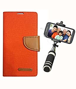 Aart Fancy Wallet Dairy Jeans Flip Case Cover for Apple4G (Orange) + Mini Fashionable Selfie Stick Compatible for all Mobiles Phones By Aart Store