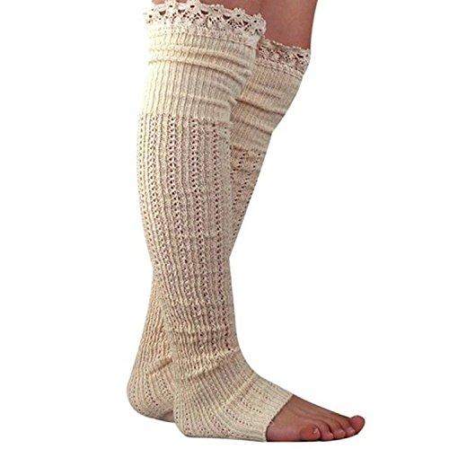 Spring Fever Crochet Lace Trim Cotton Knit Leg Warmers Boot Socks(Beige)