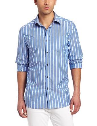 Kenneth Cole New York Men's Wide Stripe Shirt, Marina Blue Combo, Large