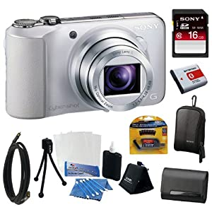 Sony Cyber-shot DSC-HX10V 18.2MP Digital Camera with 16x Optical Zoom and 3.0-inch LCD in White + Sony 16GB Class 10 Memory Card + 2 Sony Cases + Replacement Battery Pack + Mini HDMI Cable + Accessory Kit