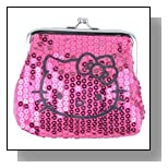Hello Kitty Pink Sparkle Dazzled Kiss Lock Sequin Coin Wallet Purse