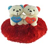 Tickles Red Delightful Couple Teddy Sitting On Heart Stuffed Soft Plush Toy Love Girl 21 Cm