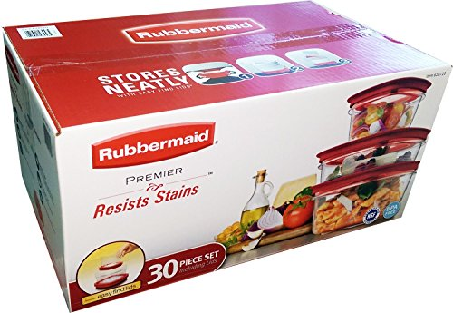 Rubbermaid Premier 30Pc Resists Stains Includes Easy Find Lids - Bpa Free (Red)