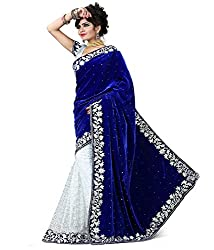 We-Desi Blue Net & Velvet Saree RSSS16BS023