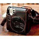 Woodmin Fuji film PU Leather case bag for Fujifilm Instax Mini 50s case---Black