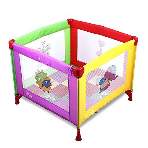 BABLE-BB-P1-Babybett-Kinder-Baby-Reisebett-Playard-Klappbett-Laufstall-mit-Matratze-Mehrfarbig