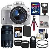 Canon EOS Rebel SL1 Digital SLR Camera & EF-S 18-55mm IS STM (White) + 75-300mm III Lens + 32GB Card + Flash + Battery + Tripod + 2 Tele/Wide Lenses