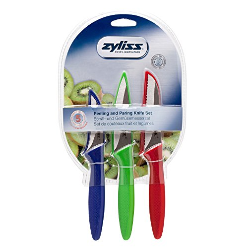 Zyliss 3 Piece Peeling & Paring Knife Set, Blue/Green/Red