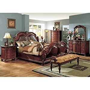 Porter sleigh bedroom set in dark cherry size king for Bedroom furniture amazon