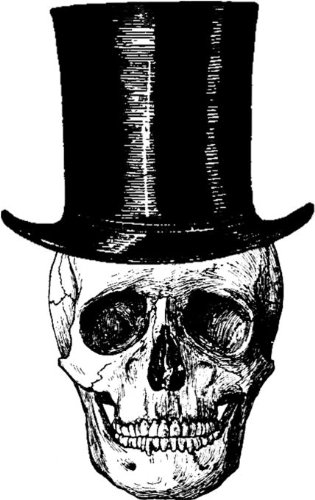 Skull with Top Hat Rubber Stamp